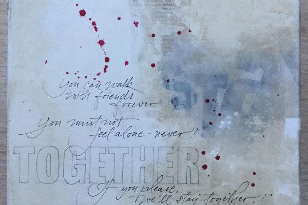 Beschriftung eines Würfels mit selbstverfasstem Gedicht des Auftraggebers